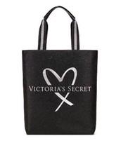 Victoria's Secret Fashion Show 2017 Glitter Tote Bag Black & Silver NWT w/ GIFT! - $39.59
