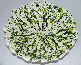 Vintage Art Pottery Green Flecked Leaf Shape Bowl - $14.95