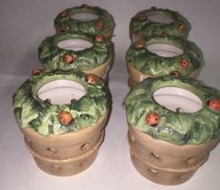 Set of 6 Hallmark lady bug tealight candle holders flower pot ceramic gi... - $7.91