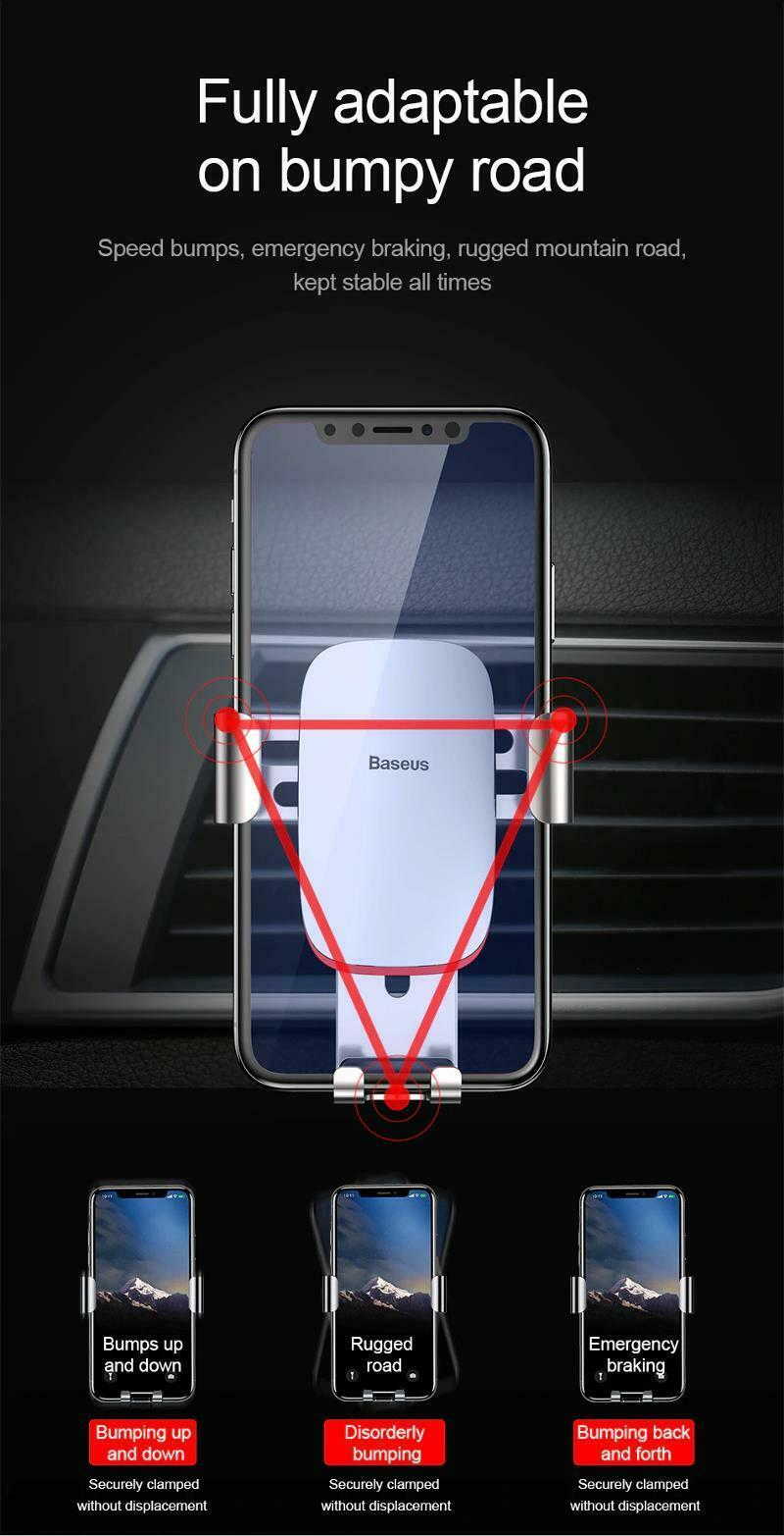 """Car Mobile Holder 4-6.0"""" Air Vent Mount Metal Gravity Universal Smartphone Stand image 9"""