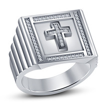 Round Cut CZ 925 Silver 14k White Gold Plated Christian Religious Men Cross Ring - $104.30