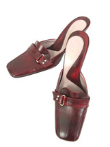 Kenneth Cole NY Womens 7 Burgundy Leather Square Toe Slip On Heel Mule Italy - $23.33