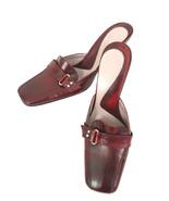 Kenneth Cole NY Womens 7 Burgundy Leather Square Toe Slip On Heel Mule I... - $23.33