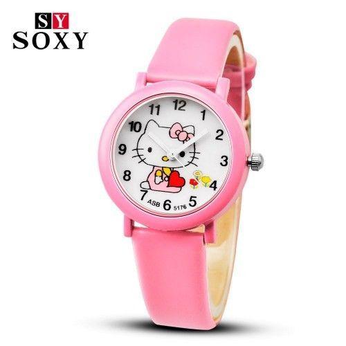 Hello Kitty Watch Cartoon Watches Kid Girls Leather Straps Wristwatch Children for sale  USA