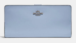 COACH NWT Smooth Leather Skinny Wallet 58586 Bifold Silver & Cloud Blue ... - $65.83
