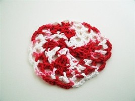 Red and White Doily 5.5 inches Crochet Handmade Close-Out SALE - $3.50