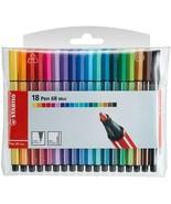 Stabilo Pen 68 Mini Felt/Fibre Tip Pens 1.0MM - 18 Assorted Colours In W... - $26.12
