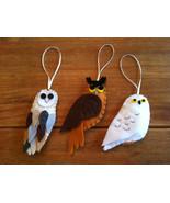 Handmade Stitched Felt OWL Christmas Ornaments x3 - $18.99