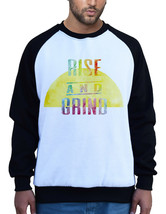 New Men's Rise And Grind Colors White Raglan Sweatshirt Workout Fitness ... - $22.99+