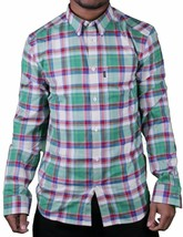 Wesc Vernon White Asparagus Green Blue Red Plaid Casual Button Up Down Shirt NWT