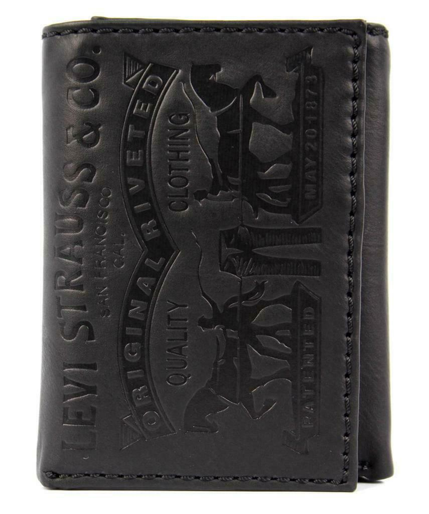 Levi's Men's Premium Coated Leather Credit Card Wallet Embossed Logo Black