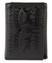 Levi's Men's Premium Coated Leather Credit Card Wallet Embossed Logo Black image 1