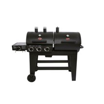 Outdoor Portable Cooker 3 Burner Gas and Charcoal Grill in Classic Black... - $316.94