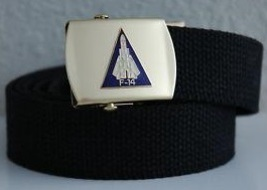 US Navy F-14 Tomcat Black Belt & Buckle  - $14.99
