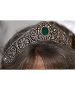 8.00Ctw Rose Cut Diamond Emerald Silver Wedding Antique Style Tiara Crow... - $1,250.00