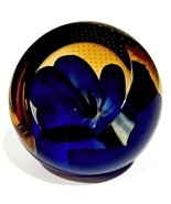 Caithness Studio Glass Paperweight, Blue Anemon... - $69.00