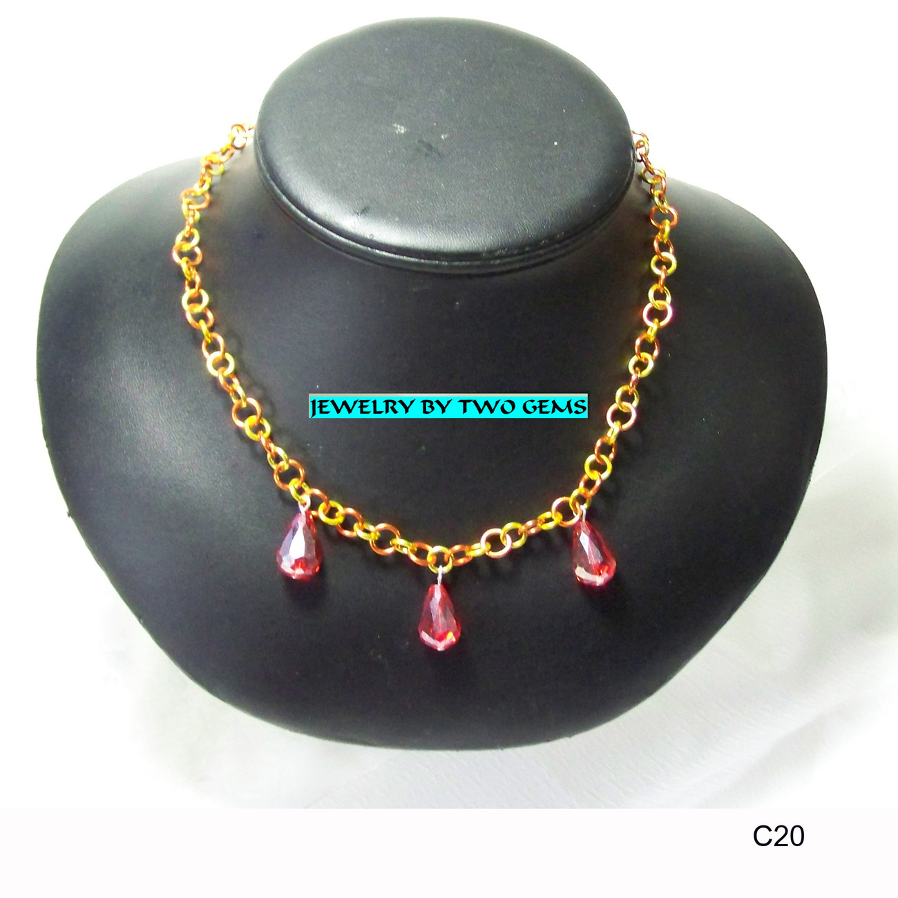 Jewelry By Two Gems (C20) Yellow/Orange Aluminum Necklace w Orange Crystals