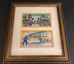 VINTAGE Copecrest Woven Embroidered Framed Picture Art Train Airplane - $29.69