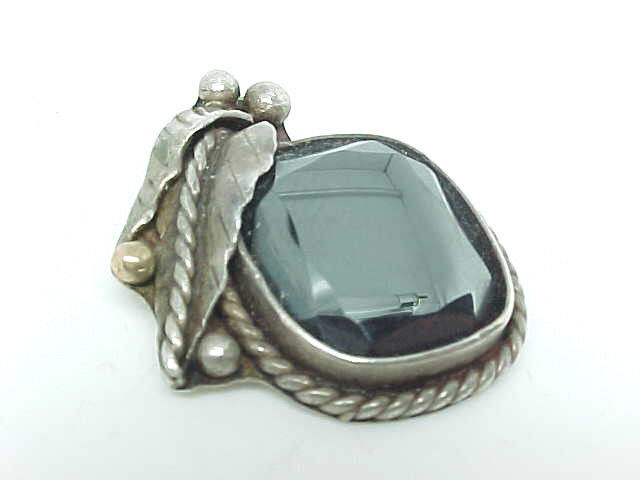 Primary image for HEMATITE Vintage PENDANT in STERLING Silver - Artisan Hand Crafted - FREE SHIP