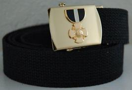 US Navy Cross Military Black Belt & Brass Buckle  - $14.99
