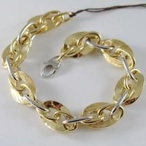 Armband Gelbgold Weiß 750 18K mit Ovale Zerkratzt und Abwechselnde, 20.5 CM - $1,008.71