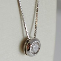 18K WHITE GOLD NECKLACE WITH DIAMOND 0.45 CARATS, VENETIAN CHAIN MADE IN ITALY image 2