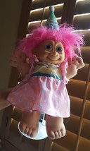 "Russ Happy Birthday 15"" Troll Doll Pink Hair on stand, but blue eyes, so... - $33.65"