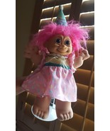 """Russ Happy Birthday 15"""" Troll Doll Pink Hair on stand, but blue eyes, so... - $33.65"""