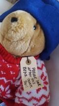 "Paddington Bear Teddy w pretty red snowflake sweater 14"" Sears Vtg Plush w Tags  - $40.79"