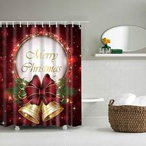 Christmas Santa Claus Snowman Bathroom Shower Curtain Fabric Waterproof With 12  - $28.42