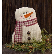 Primitive TEA-STAINED SNOWMAN DOLL Country Chenille Farmhouse Christmas ... - $32.99