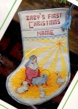 "Vintage Sunset 8"" Nativity Manger Babys Christmas Cross Stitch Stocking ... - $39.95"