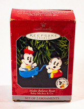 Vintage Hallmark Keepsake Christmas Ornaments Make Believe Boat Baby Mic... - $6.92