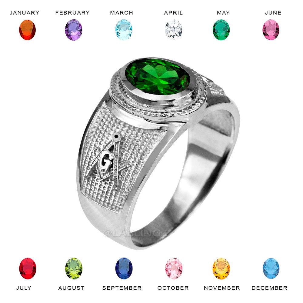 Sterling Silver Masonic Band April Birthstone Clear CZ Freemason Ring