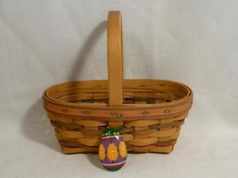 1997 LONGABERGER small oval Easter BASKET & protector, egg tie on - combo - $17.99