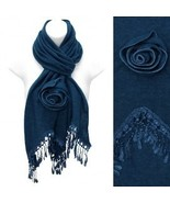 Fashionable deco scarf with fringe in solid tea... - $19.79
