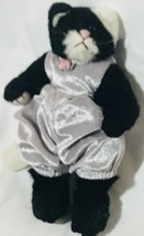 1993 TY Beanie Baby Cat Poseable Kitten Arms & Legs Clothes Vintage Black White - $21.40