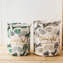 FULLLOVE® 40*50cm Leaves Printed Laundry Basket New Clothes Basket Green - $18.96+