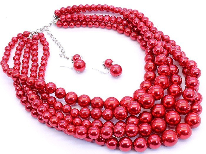 Red faux pearl layered fashion necklace set chunky multilayered easy to wear