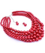 Red faux pearl layered fashion necklace set chunky multilayered easy to ... - $19.79