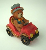 Russ Berrie Bears From The Past Figurine Bear Driving Convertible Vtg Car - $12.86