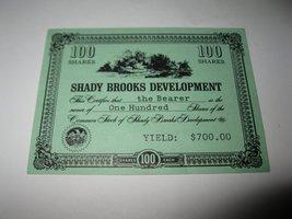 1964 Stocks & Bonds 3M Bookshelf Board Game Piece: Shady Brooks Dev. 100 Shares - $1.00
