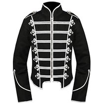 1791's lady Men's Black Military Jacket Medieval Coat Emo Parade Cosplay... - $71.87