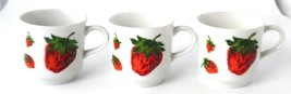 George Briard Strawberry Coffee Tea Cups Mugs Petite Small Vintage 1960s... - $22.79