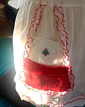 Vintage 50's Half Apron Sheer Red + White Christmas Tree pin up housewif... - $11.88