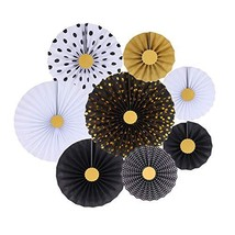 Zilue Black Party Hanging Paper Fans Decoration Set for Wedding Birthday... - $15.02