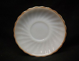 """Old Vintage Golden Shell by Anchor Hocking 5-7/8"""" Milk White Saucer USA MCM - $8.90"""