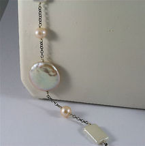 .925 SILVER RHODIUM NECKLACE 33,46 In, BAROQUE ROSE PEARL, ROUND & SPHERE SHAPE. image 3