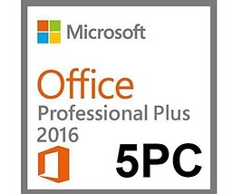 Microsoft Office 2016 Professional Plus for 5PCs-Official download +Digit - $69.99