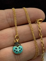 Joan Rivers Gold Tone & Pink Blue Enamel Lady Bug Pendant Necklace Rever... - $12.59